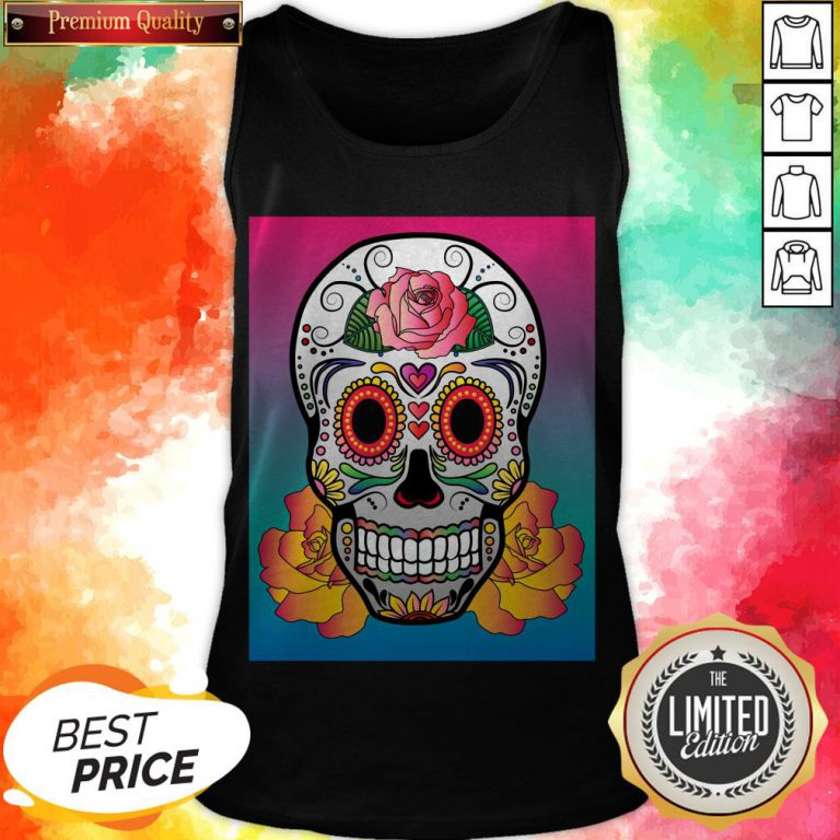 Sugar Skull Flower Color Day Of The Dead Muertos Tank Top