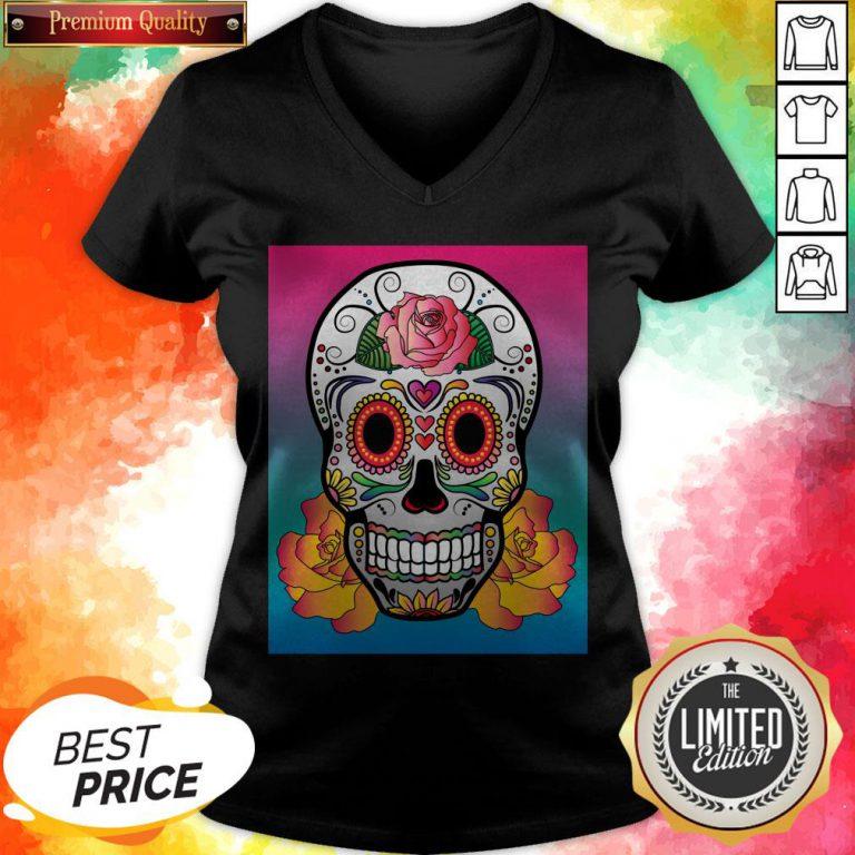 Sugar Skull Flower Color Day Of The Dead Muertos V-neck