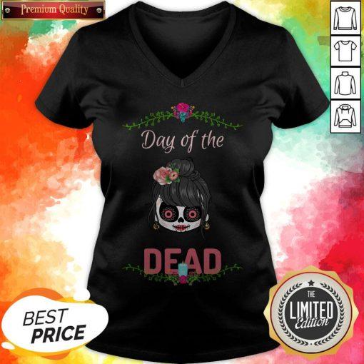 Sugar Skull Girl Day Of The Dead V-neck
