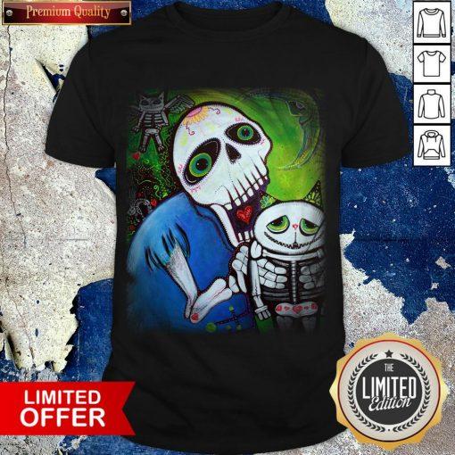Sugar Skulls Cat Guardians Day Of The Dead Dia De Muertos Shirt