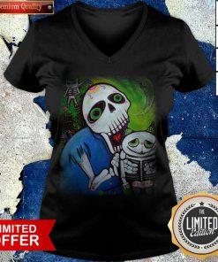 Sugar Skulls Cat Guardians Day Of The Dead Dia De Muertos V-neck