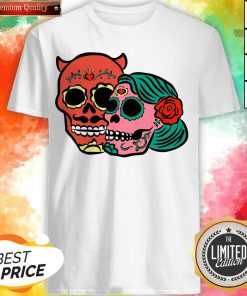 Sugar Skulls Couple Day Dead Dia De Los Muertos Shirt
