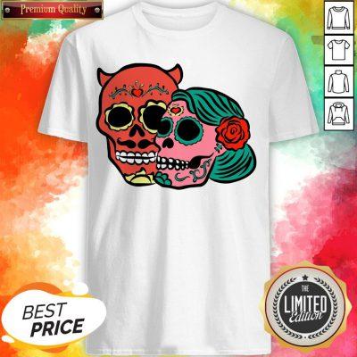 Sugar Skulls Couple Day Dead Dia De Los Muertos Shirt