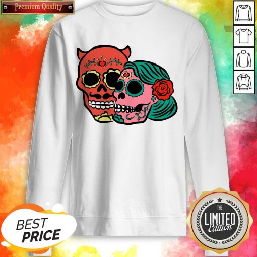 Sugar Skulls Couple Day Dead Dia De Los Muertos Sweatshirt