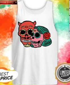 Sugar Skulls Couple Day Dead Dia De Los Muertos Tank Top