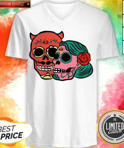 Sugar Skulls Couple Day Dead Dia De Los Muertos V-neck