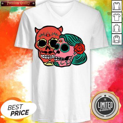 Sugar Skulls Couple Day Dead Dia De Los Muertos V-neck