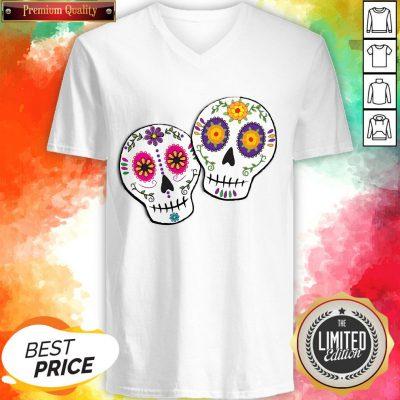 Sunshine Sugar Skulls Dia De Muertos Day Of Dead V-neck
