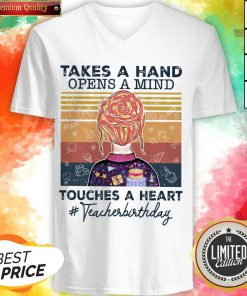 Teacher Takes A Hand Opens A Mind Touches Classic T-V-neck