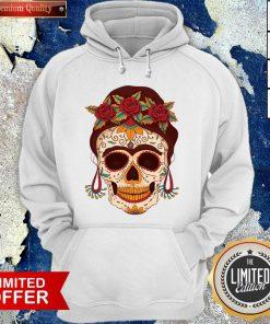 Woman Sugar Skull With Flowers Dia De Los Muertos Day Dead Hoodie