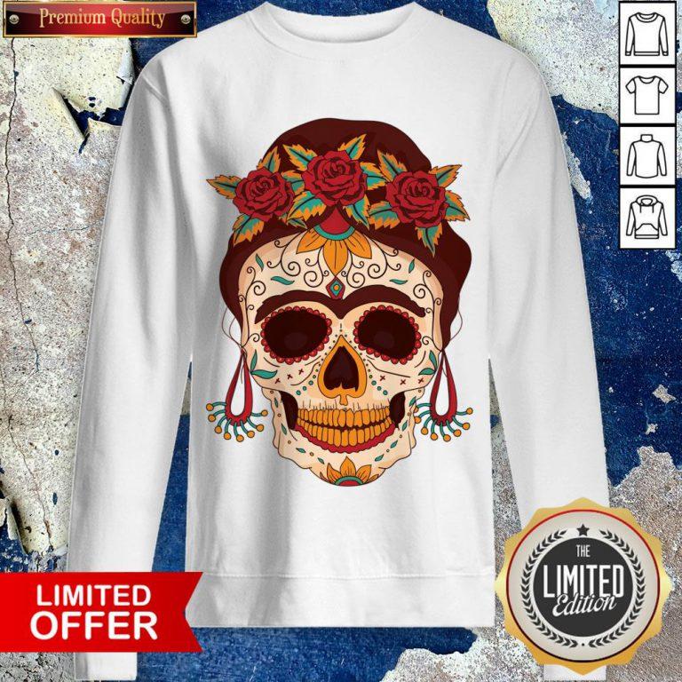 Woman Sugar Skull With Flowers Dia De Los Muertos Day Dead Sweatshirt