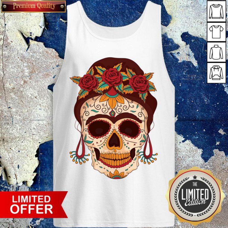Woman Sugar Skull With Flowers Dia De Los Muertos Day Dead Tank Top
