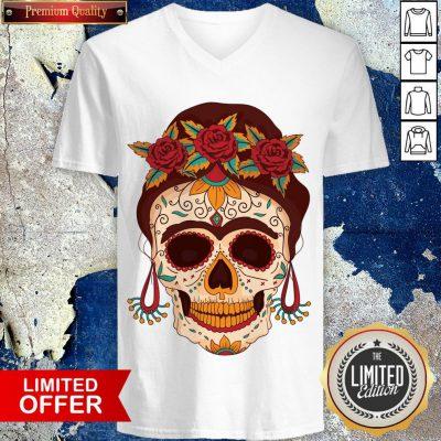 Woman Sugar Skull With Flowers Dia De Los Muertos Day Dead V-neck