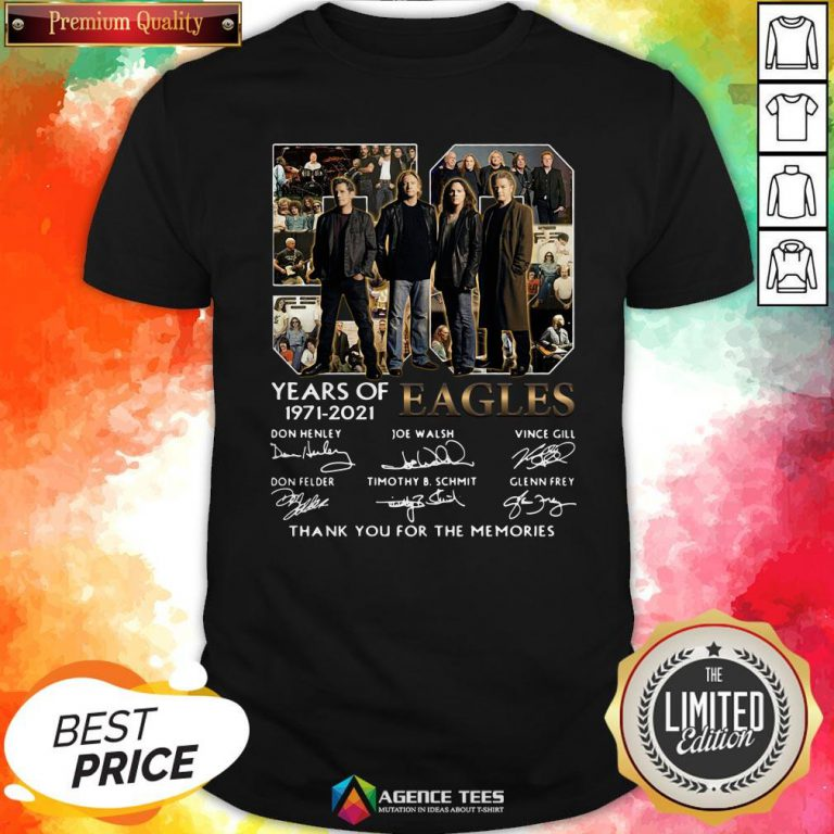 50 Years Of 1971 – 2021 Eagles Thank You For The Memories Signatures Shirt