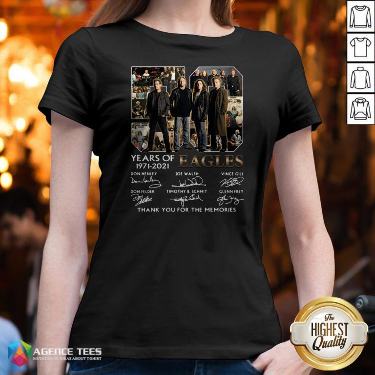 50 Years Of 1971 – 2021 Eagles Thank You For The Memories Signatures V-neck