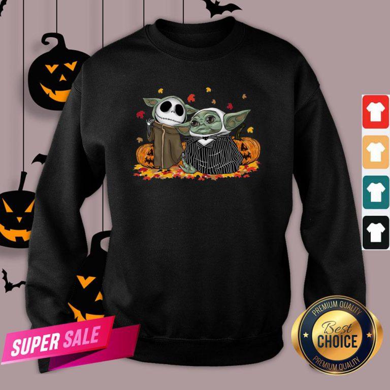 Baby Yoda And Baby Jack Skellington Pumpkin Halloween Sweatshirt