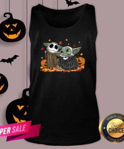 Baby Yoda And Baby Jack Skellington Pumpkin Halloween Tank Top