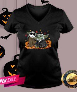Baby Yoda And Baby Jack Skellington Pumpkin Halloween V-neck