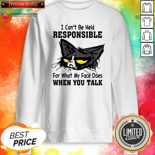 Black Cat I Can't Be Held Responsible For What My Face Does When You Talk Sweatshirt