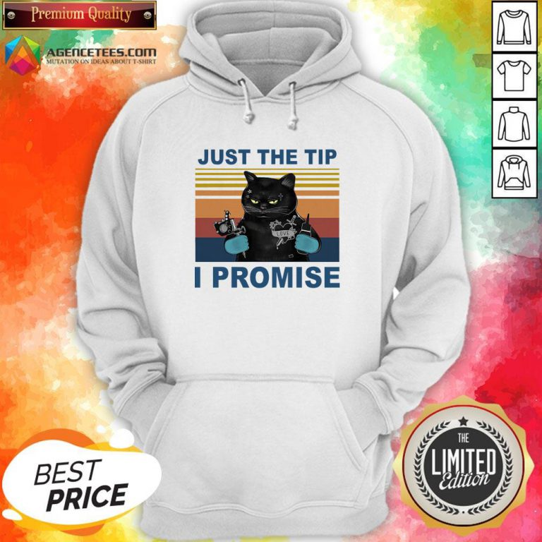 Black Cat Just The Tip I Promise Vintage Hoodie