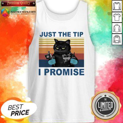 Black Cat Just The Tip I Promise Vintage Tank Top