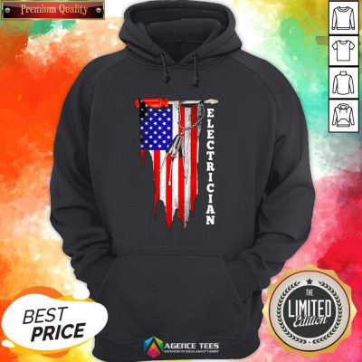 Funny Electrician American Flag Vintage Hoodie Design By Agencet.com