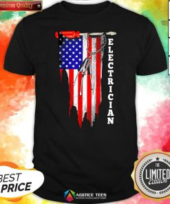Funny Electrician American Flag Vintage Shirt Design By Agencet.com