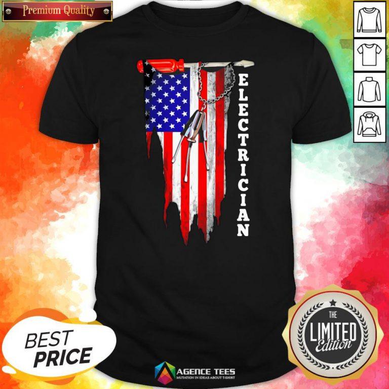 Funny Electrician American Flag Vintage Shirt Design By Agencet.com