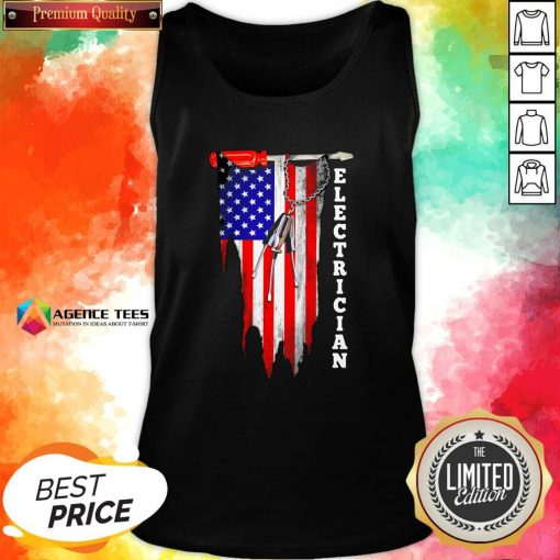 Funny Electrician American Flag VintFunny Electrician American Flag Vintage Tank Topage Tank Top Design By Agencet.com