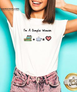 Funny I'm A Simple Woman Book Coffee And Heart V-neck Design By Lordoftee.com