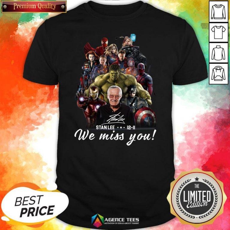 Funny Marvel Avenger We Miss You Stanlee 12-11 Signature Shirt Design By Agencet.com