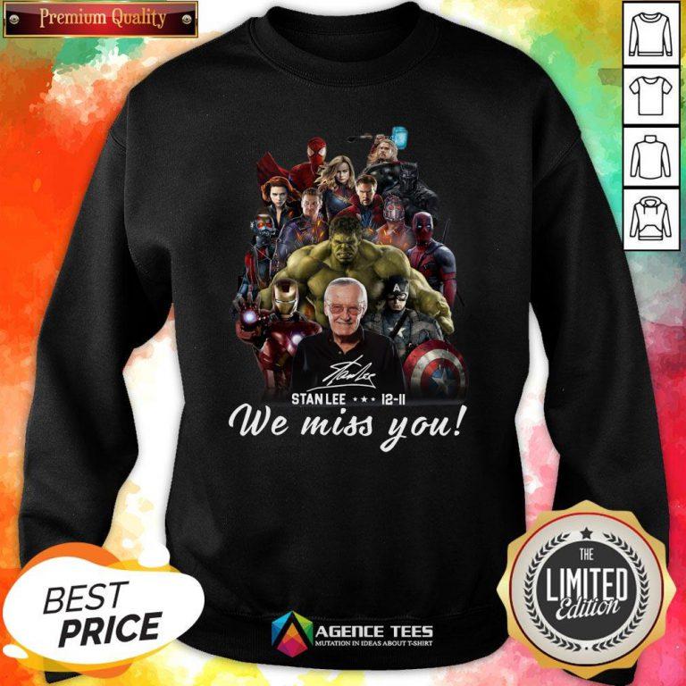 Funny Marvel Avenger We Miss You Stanlee 12-11 Signature Sweatshirt Design By Agencet.com