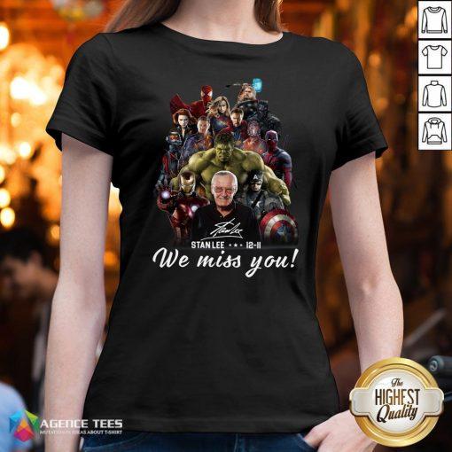Funny Marvel Avenger We Miss You Stanlee 12-11 Signature V-neck Design By Agencet.com