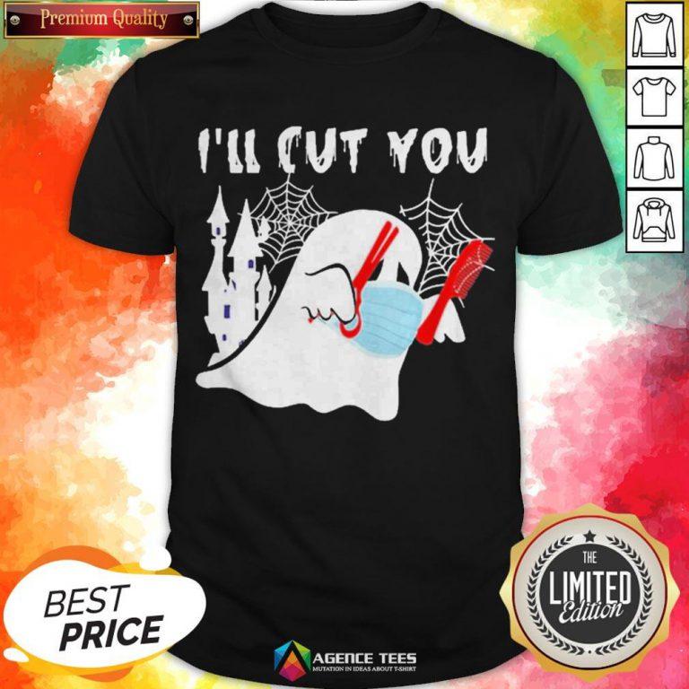 Ghost Boo Face Mask I'll Cut You Halloween Shirt