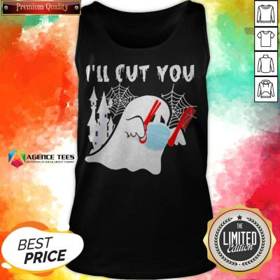 Ghost Boo Face Mask I'll Cut You Halloween Tank Top