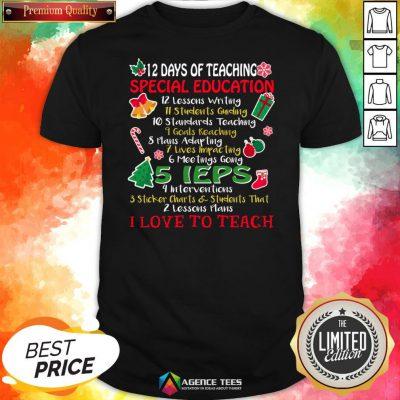 Good Christmas 12 Days Of Teaching Special Education Shirt Design By Agencet.com