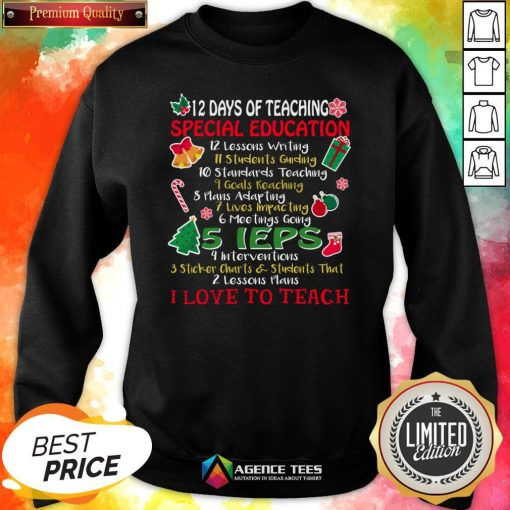 Good Christmas 12 Days Of Teaching Special Education Sweatshirt Design By Agencet.com