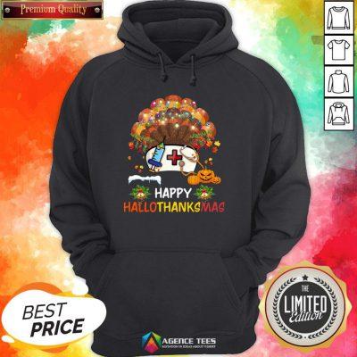 Good Nurse Turkey Happy HallothankSmas Halloween Hoodie Design By Agencet.com