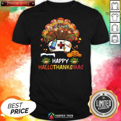 Good Nurse Turkey Happy HallothankSmas Halloween Shirt Design By Agencet.com