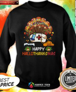Good Nurse Turkey Happy HallothankSmas Halloween Sweatshirt Design By Agencet.com