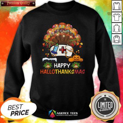 Good Nurse Turkey Happy HallothankSmas Halloween Sweatshirt Design By Agencet.com