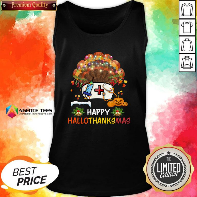 Good Nurse Turkey Happy HallothankSmas Halloween Tank Top Design By Agencet.com