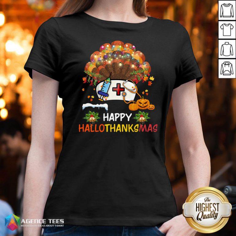 Good Nurse Turkey Happy HallothankSmas Halloween V-neck Design By Agencet.com