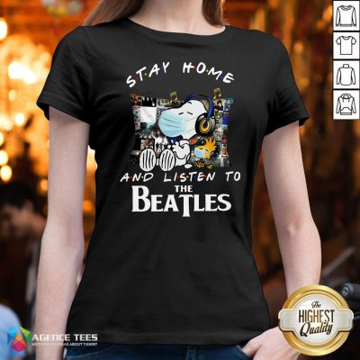 Good Snoopy And Woodstock Stay Home And Listen To The Beatles V-neck Design By Agencet.com