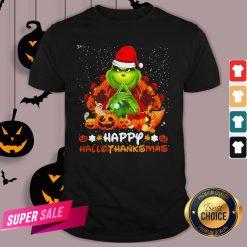 Grinch Santa Hat Christmas Happy Hallothanksmas Shirt