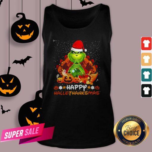 Grinch Santa Hat Christmas Happy Hallothanksmas Tank Top