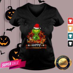 Grinch Santa Hat Christmas Happy Hallothanksmas V-nGrinch Santa Hat Christmas Happy Hallothanksmas V-neckeck