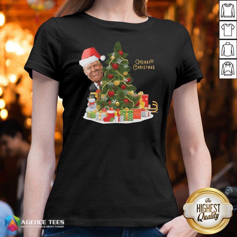 Hot Trump Merry Christmas V-neck Design By Agencet.com