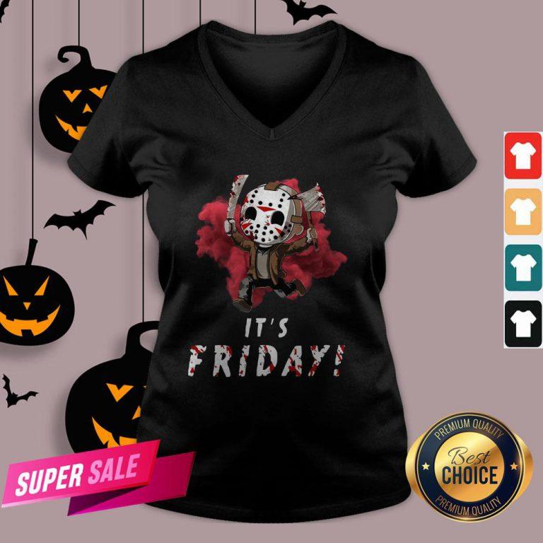 Jason Voorhees Chibi It'S Friday Halloween V-neckJason Voorhees Chibi It'S Friday Halloween V-neck