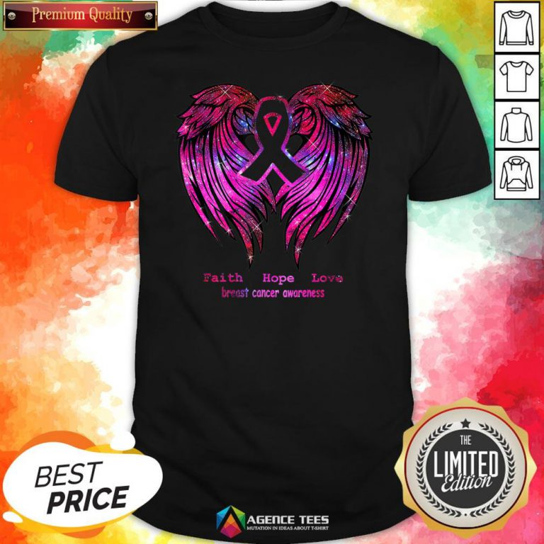 Nice Faith Hope Love Breast Cancer Awareness Pink Wings Shirt Design By Agencet.com